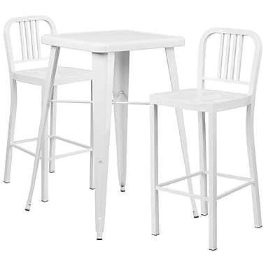 Flash Furniture Metal Indoor/Outdoor Bar Table, 2 Vertical Slat-Back Barstools, White (CH31330B230WH)