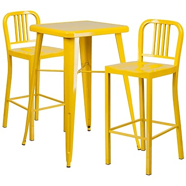 Flash Furniture Metal Indoor/Outdoor Bar Table Set, Yellow with 2 Vertical-Slat-Back Barstools (CH31330B230YL)