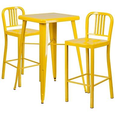 Flash Furniture – Ensemble table bistro et 2 tabourets à dossier, intérieur/extérieur, métal, jaune (CH31330B230YL)