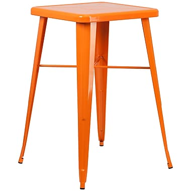 Flash Furniture 24'' Square Metal Indoor/Outdoor Bar-Height Table, Orange (CH31330OR)