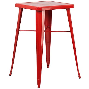Flash Furniture 24'' Square Metal Indoor/Outdoor Bar Height Table, Red (CH31330RED)