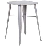 Flash Furniture 24'' Square Metal Indoor/Outdoor Bar Height Table, Silver (CH31330SIL)
