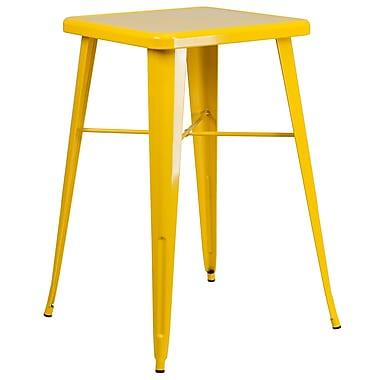 Flash Furniture – Table de bar carrée de 24 po en métal, intérieur/extérieur, jaune (CH31330YL)