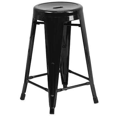 Flash Furniture 24 High Backless Metal Indoor-Outdoor Counter Height Stool with Round Seat (CH3135024BK)
