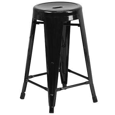 Flash Furniture – Tabouret de comptoir de 24 po en métal sans dossier, int/ext, siège rond, fini noir, 4/bte (CH3135024BK)