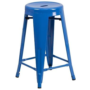 Flash Furniture – Tabouret de comptoir de 24 po en métal sans dossier, int/ext, siège rond, bleu (CH3135024BL)