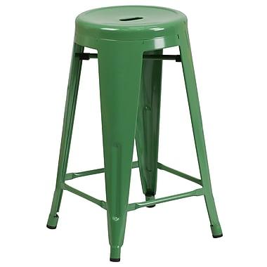 Flash Furniture – Tabouret de comptoir de 24 po en métal sans dossier, int/ext, siège rond, vert (CH3135024GN)