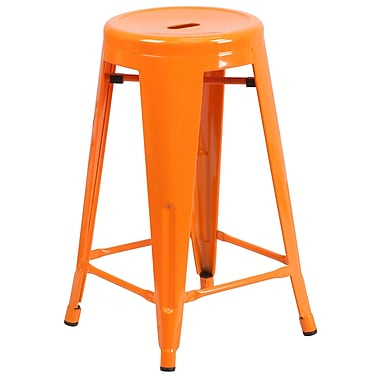 Flash Furniture – Tabouret de comptoir de 24 po en métal sans dossier, int/ext, siège rond, orange (CH3135024OR)