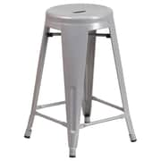 Flash Furniture 24'' High Backless Silver Metal Indoor-Outdoor Counter Height Stool with Round Seat, 4/Box (CH3135024SIL)