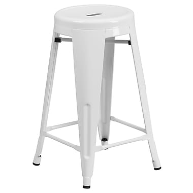 Flash Furniture 24''H Backless Metal Indoor/Outdoor Counter-Height Stool with Round Seat, White (CH3135024WH)