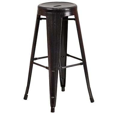 Flash Furniture 30''H Backless Black/Antique Gold Metal Indoor/Outdoor Barstool, Round Seat (CH3135030BQ)