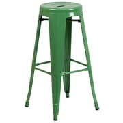 Flash Furniture 30'' High Backless Metal Indoor-Outdoor Barstool with Round Seat, Green Powder Coat Finish, 4/Box (CH3135030GN)