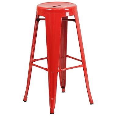 Flash Furniture 30'' High Backless Red Metal Indoor-Outdoor Barstool with Round Seat, (CH3135030RED)