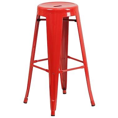 Flash Furniture – Tabouret bistro de 30 po en métal sans dossier, int/ext, siège rond, rouge, 4/bte (CH3135030RED)