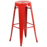 Flash Furniture 30'' High Backless Red Metal Indoor-Outdoor Barstool with Round Seat, 4/Box (CH3135030RED)