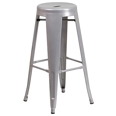 30'' High Backless Indoor-Outdoor Round Seat Barstool Silver Metal (CH3135030SIL)