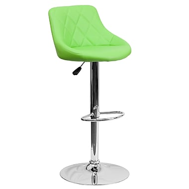Flash Furniture Adjustable-Height Contemporary Vinyl Bucket Seat Barstool Green with Chrome Base (CH82028AGRN)