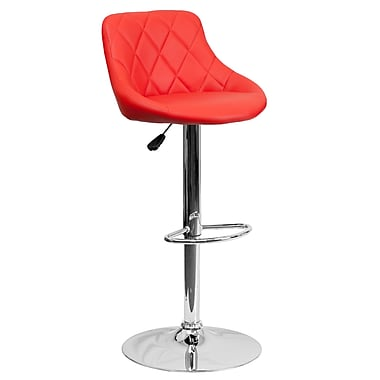 Flash Furniture – Tabouret de bar ajustable de 32 po à siège baquet en vinyle rouge et à pied chromé, 2/bt (CH82028ARED)
