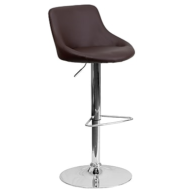 Flash Furniture Adjustable-Height Contemporary Vinyl Bucket Seat Barstool, Brown with Chrome Base (CH82028MODBRN)