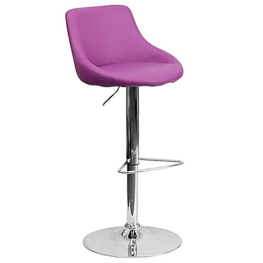 Flash Furniture Adjustable-Height Contemporary Vinyl Bucket Seat Barstool, Purple with Chrome Base (CH82028MODPUR)