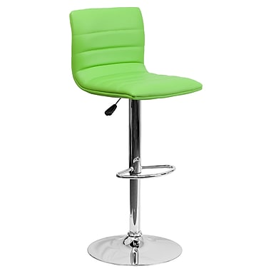 Flash Furniture – Tabouret de bar ajustable contemporain en vinyle vert et à pied chromé (CH920231GRN)