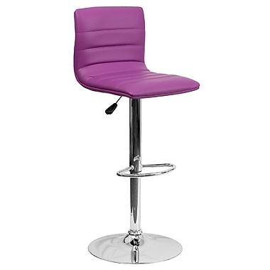 Flash Furniture Contemporary Purple Vinyl Adjustable-Height Barstool with Chrome Base (CH920231PUR)