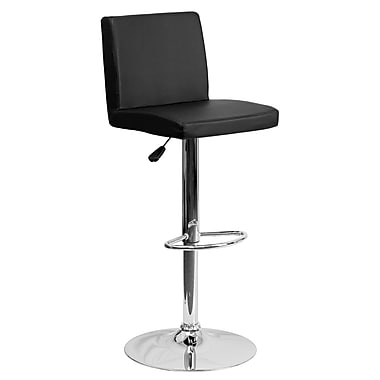 Flash Furniture Adjustable-Height Contemporary Vinyl Barstool, Black with Chrome Base (CH92066BK)