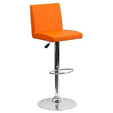 Flash Furniture – Tabouret de bar contemporain et ajustable en vinyle orange et à pied chromé (CH92066ORG)