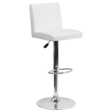 Flash Furniture – Tabouret de bar contemporain et ajustable en vinyle blanc et à pied chromé (CH92066WH)