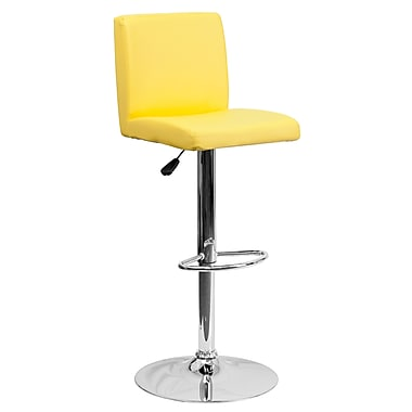 Flash Furniture Contemporary Yellow Vinyl Adjustable Height Barstool with Chrome Base (CH92066YEL)