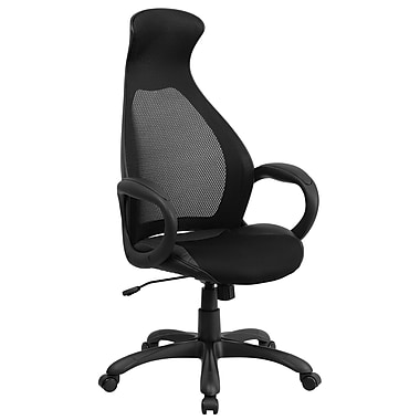 Flash Furniture High-Back Mesh Executive Swivel Office Chair, Black with Leather Seat Insert (CHCX0528H01LBK)