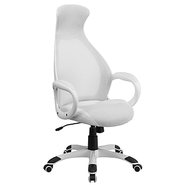 Flash Furniture High Back Mesh Executive Swivel Office Chair, White with Leather Seat Insert (CHCX0528H01LWH)