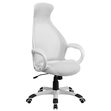 Flash Furniture – Chaise de direction pivotante à dossier haut en filet, siège ajustable en cuir blanc (CHCX0528H01LWH)