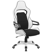 Flash Furniture CHCX0713H01 High-Back Vinyl Executive Swivel Office Chair, White with Black Fabric Inserts