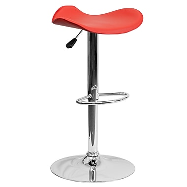 Flash Furniture – Tabouret de bar ajustable de 31,5 po en vinyle rouge et à pied chromé, 2/bte (CHTC31002RED)