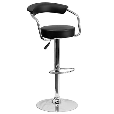 Flash Furniture Adjustable-Height Contemporary Vinyl Barstool, Black with Chrome Arms and Base (CHTC31060BK)