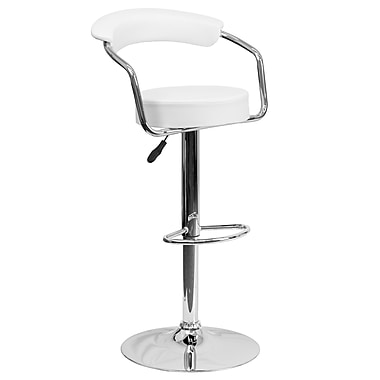 Flash Furniture – Tabouret de bar ajustable contemporain en vinyle blanc avec pied et accoudoirs chromés (CHTC31060WH)