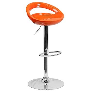 Flash Furniture – Tabouret de bar ajustable de 33 po en plastique orange et à pied chromé, 2/bte (CHTC31062ORG)