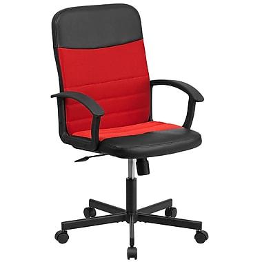 Flash Furniture – Fauteuil direction pivotant en vinyle noir et à dossier moyen en filet rouge (CPB301A01BKRD)