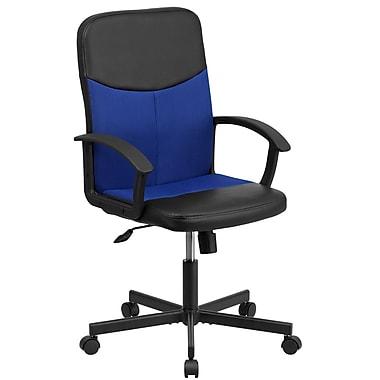 Flash Furniture – Fauteuil direction pivotant en vinyle noir et à dossier moyen en filet bleu (CPB301E01BKOR)