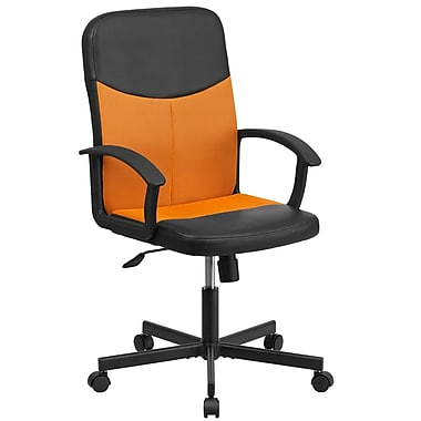 Flash Furniture – Fauteuil direction pivotant en vinyle noir et à dossier moyen en filet orange (CPB301E01BKOR)