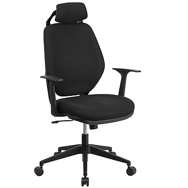 Flash Furniture CS75 Black Fabric High-Back Executive Swivel Office Chair, Height-Adjustable Headrest