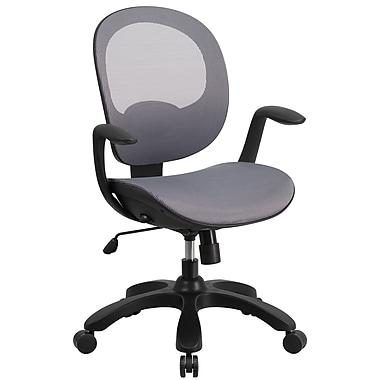 Chaise de travail pivotante à dossier mi-hauteur en filet, manettes pour siège et dossier, gris (CSYAPIGY)
