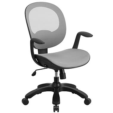 Chaise de travail pivotante à dossier mi-hauteur en filet, manettes pour siège et dossier, blanc (CSYAPIWH)
