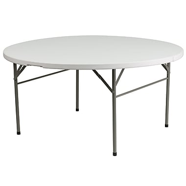 Flash Furniture 60'' Round Bi-Fold Granite White Plastic Folding Table (DAD154Z)