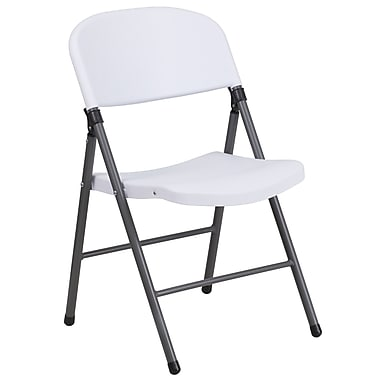 Flash Furniture Hercules Series 330lb-Capacity Plastic Folding Chair, White with Charcoal Frame (DADYCD50WH)