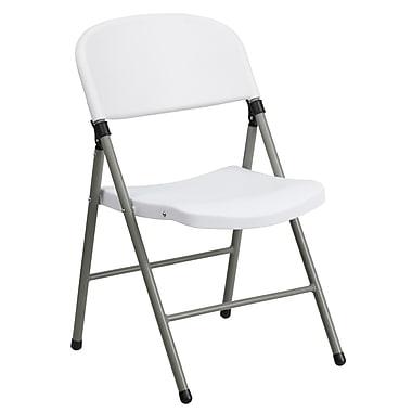 Flash Furniture – Chaise pliante en plastique HERCULES, capacité de 330 lb, blanc avec tubulure anthracite (DADYCD70WH)