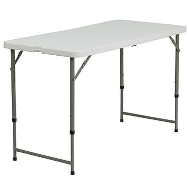 Flash Furniture – Table pliante de 24 x 48 po en plastique blanc et à pattes télescopiques (DADYCZ122Z2)