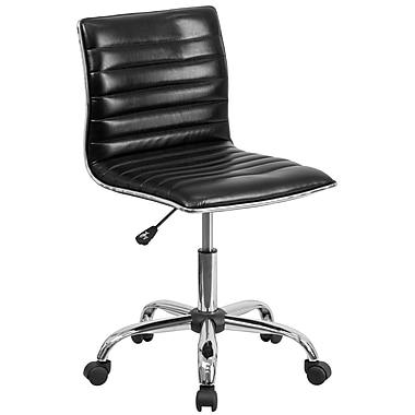 Flash Furniture – Chaise de travail pivotante à dossier bas en vinyle noir côtelé, sans accoudoirs (DS512BBK)