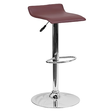 Contemporary Adjustable Height Barstool with Chrome Base Burgundy Vinyl (DS801CONTBURG)